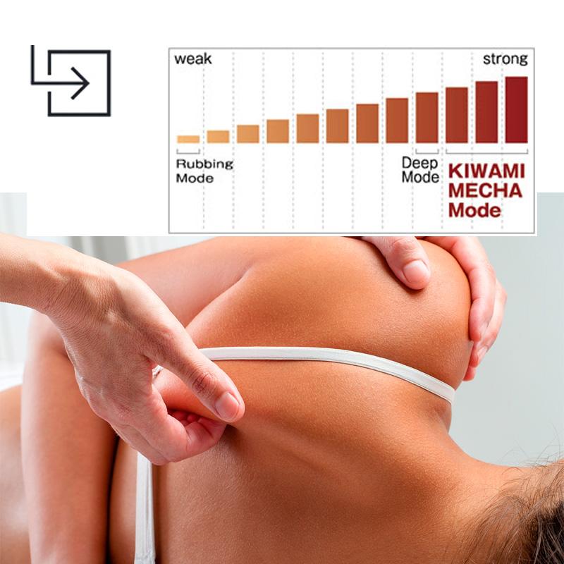 L'intensité du massage en ajustant l'acuité de 1 à 12 cm